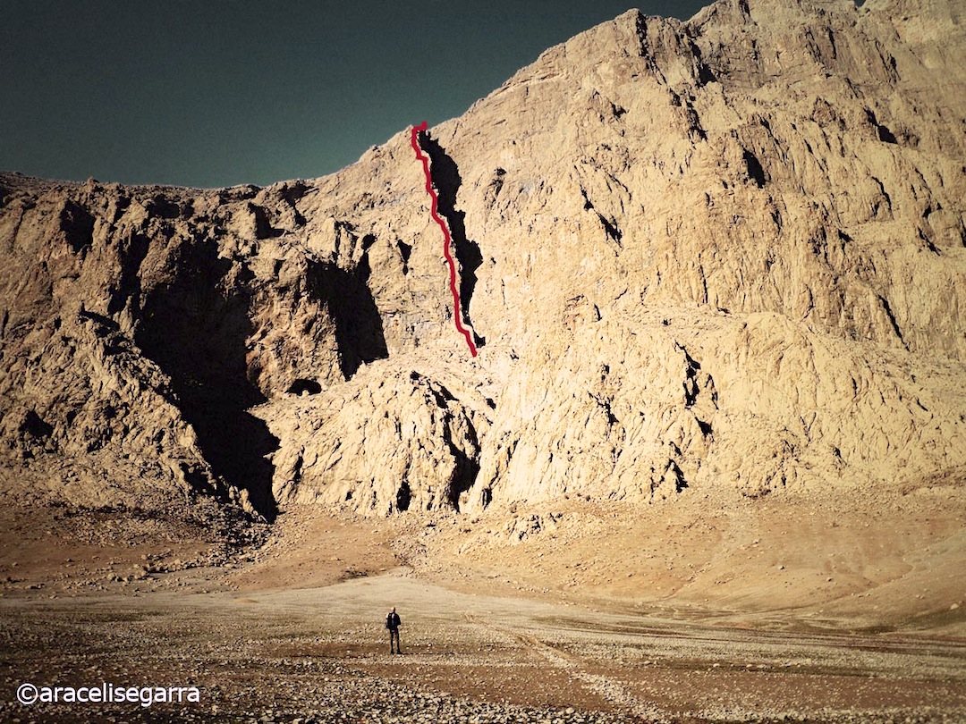The line of Different Problems (650m, MD 6b+) on Bisotoon, climbed by a Spanish team in 2012.
