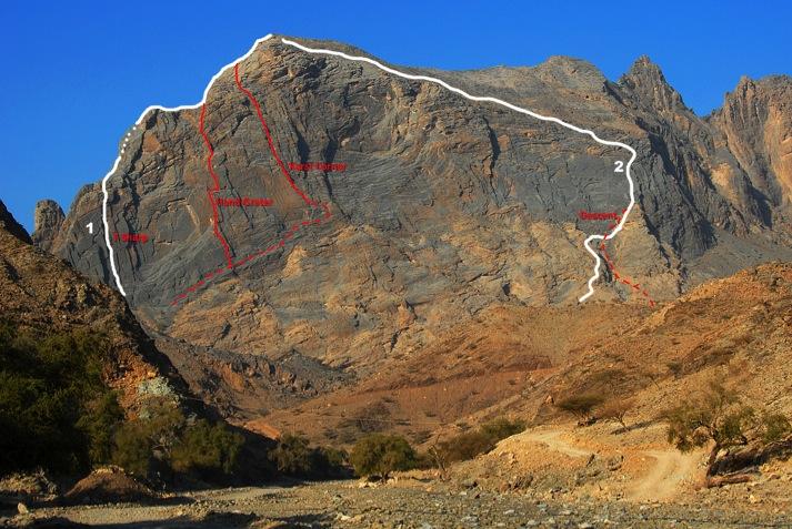 Routes on the east face of Jabal Nakhus, including the 2012 route Karst Corner (242m, V).
