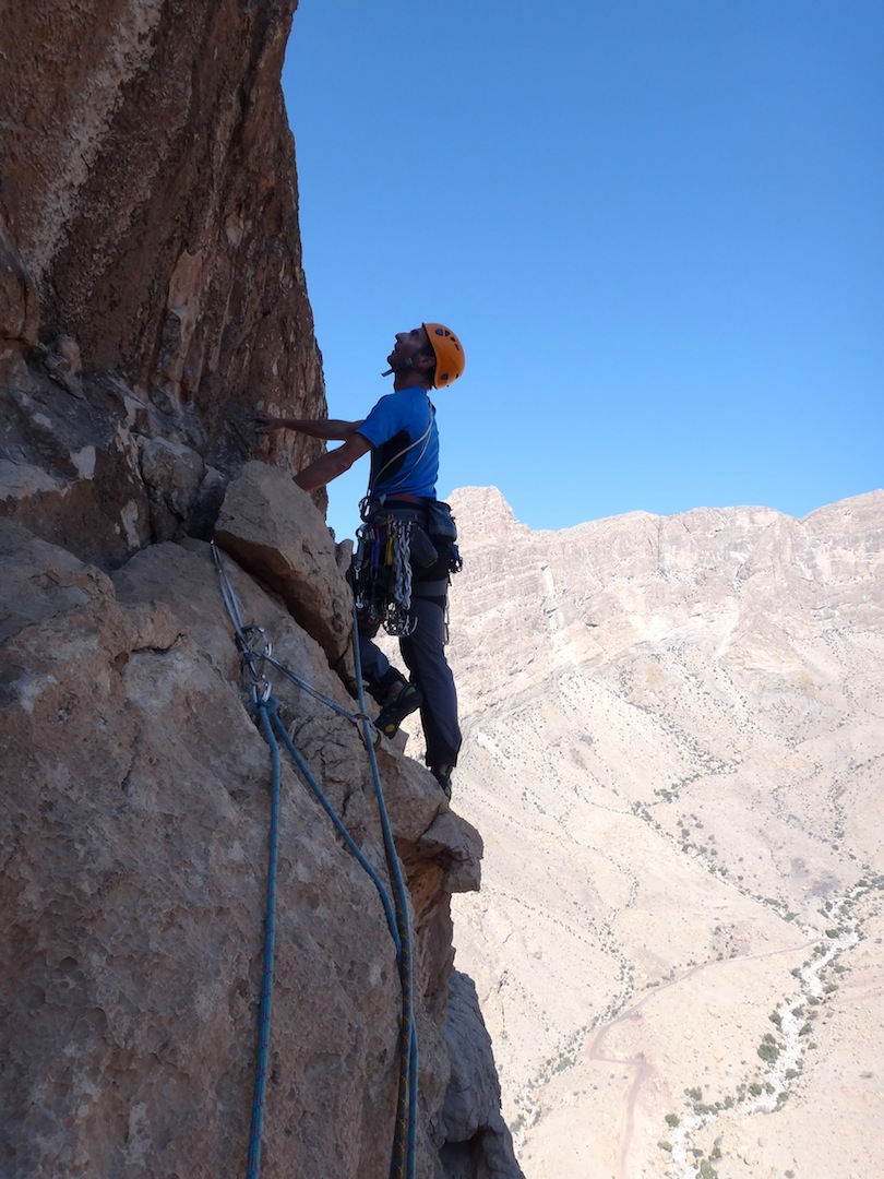 Paul Knott on the sixth pitch of Triassic Superbowl on the Nadan Pillar.
