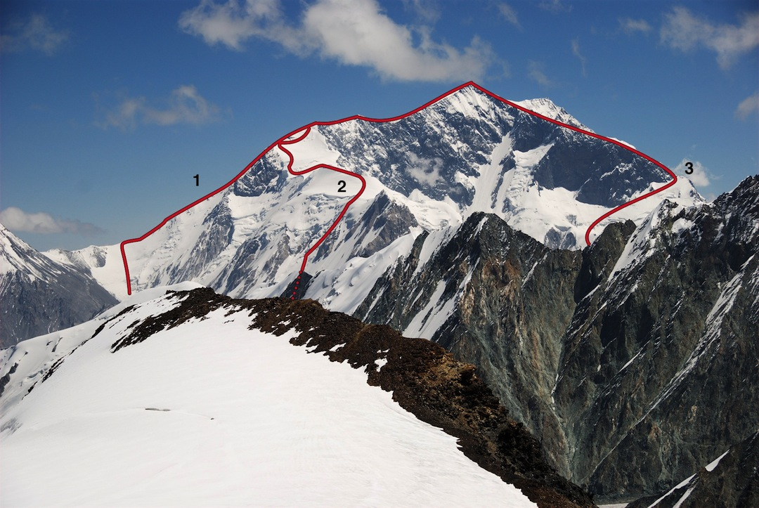 Peak Korzhenevskaya (7,105m) from the west. (1) Northwest ridge, the first ascent route (Ugarov team, 1953). (2) West ridge variation (Ivanov-Petlitskiy, 2012). (3) Southern crest normal route (Tsetlin team, 1966). G. Selnikov, provided by Anna Piunova