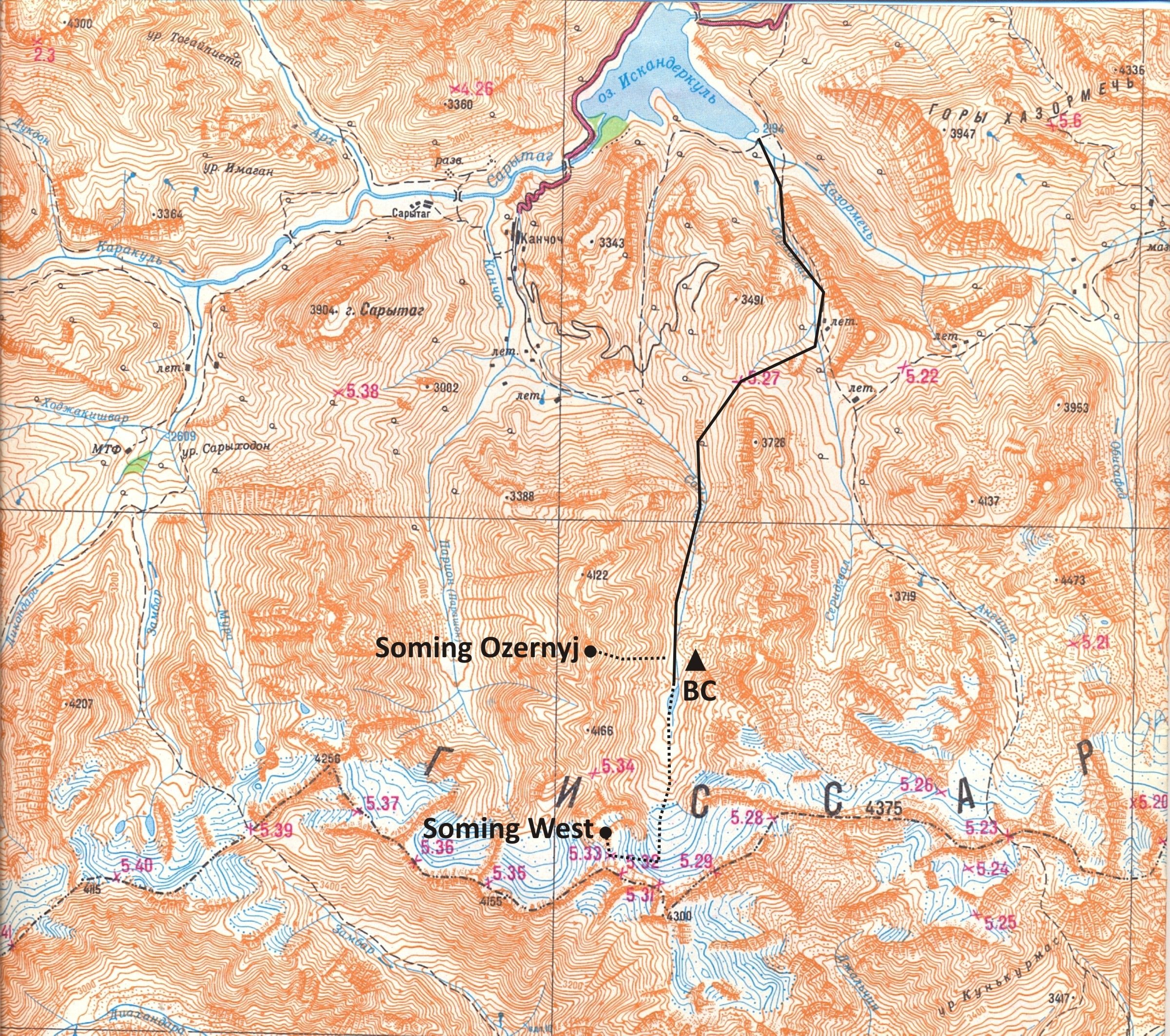 Soming Valley area (Gissar Range) map