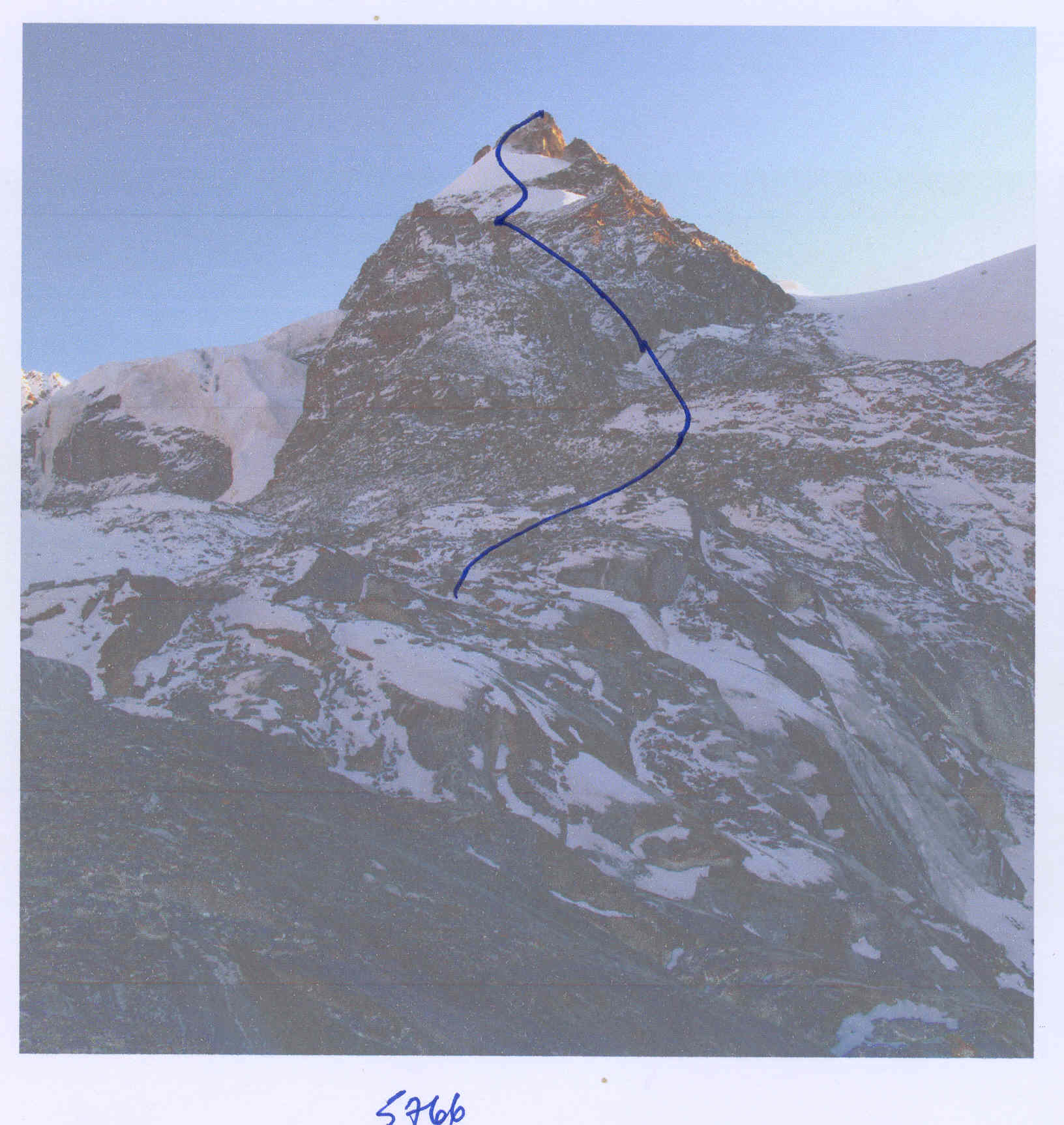 Pt. 5,766m and American route of ascent on west face to north ridge.