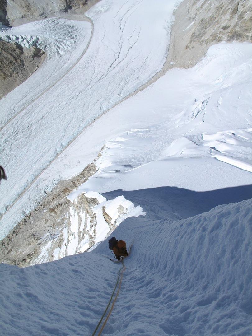Alan Rousseau high on the northwest ridge of Langmoche Ri.