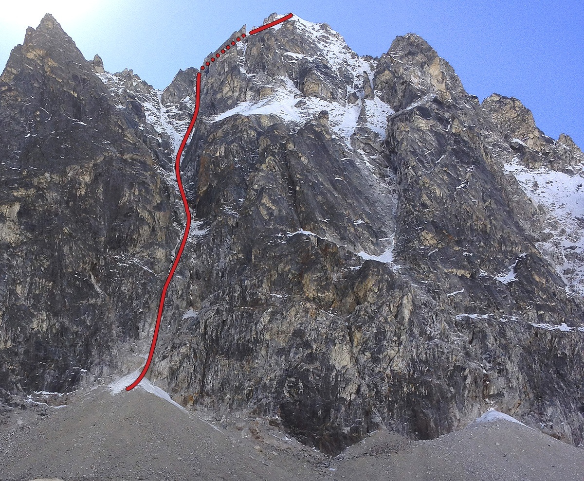 The north face of Sengjya North showing the Swiss route, Et Vous Croyez les Femmes, repeated shortly afterward, solo, by Geoff Unger.