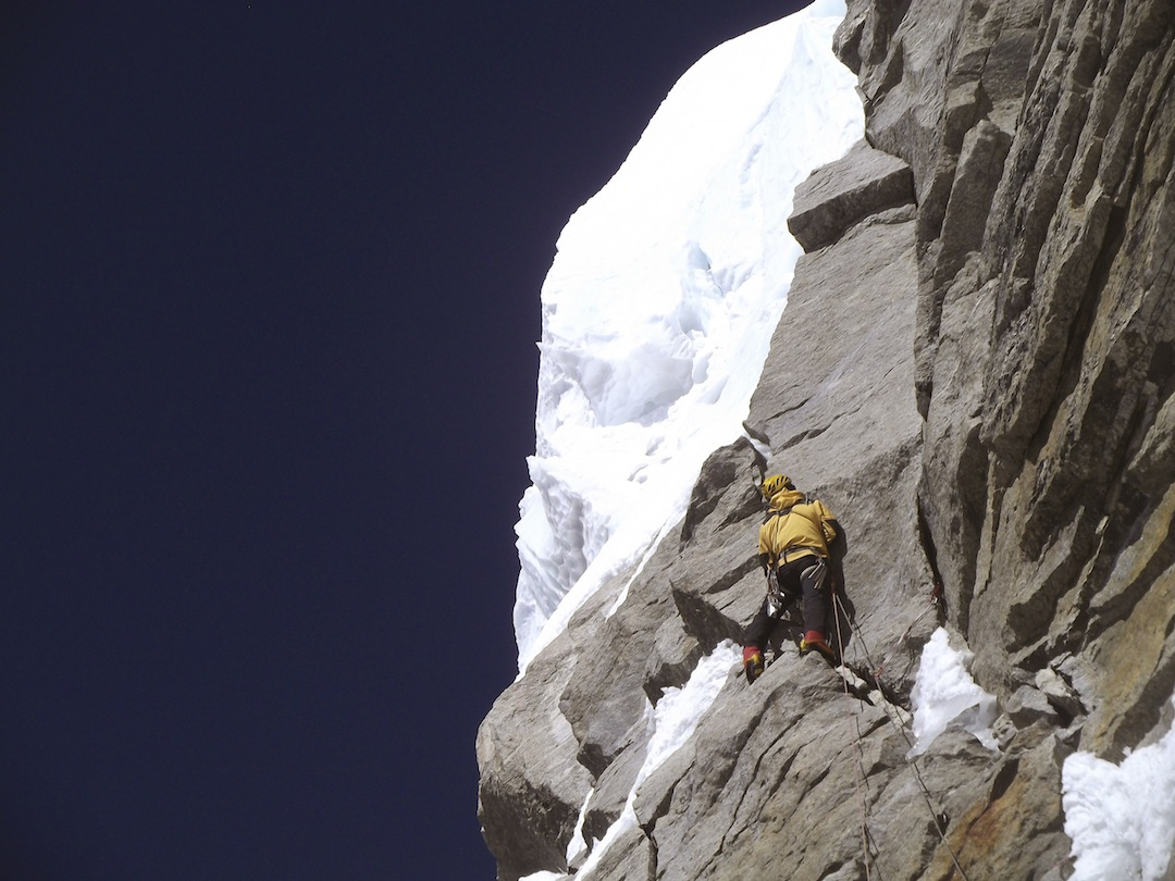Last section of rock band below the seracs on Kyashar headwall.