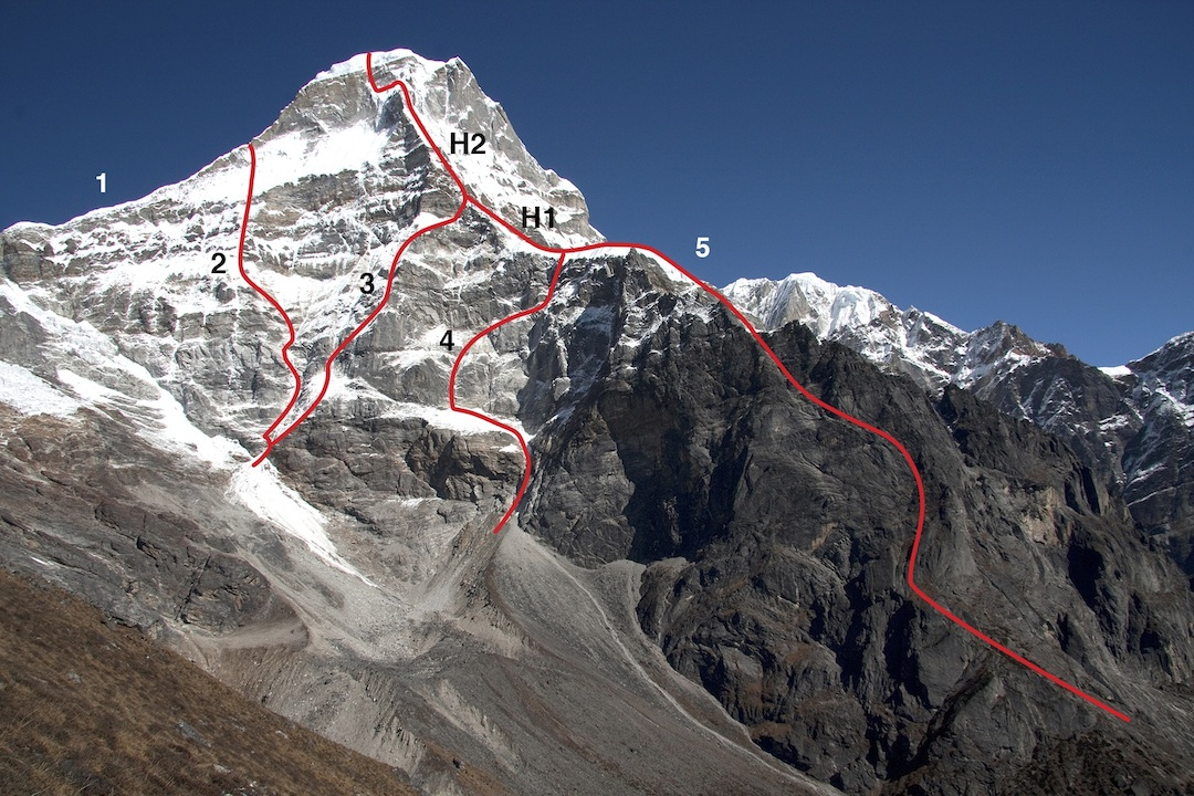 Kyashar from the Hinku Valley to the southwest. (1) West ridge (Broderick-Frank- Normand, 2003; the team moved left at ca 6,400m and reached the summit via the west face). (2) Southwest face, Ramro Chaina (Doudlebsky-Holecek, 2005; the climbers stopped on joining the west ridge). (3) French attempt in 2011 (Détrie-Labbre-Para). High point quoted as 6,350m, but seemingly lower (4) South Pillar attempt (Doudlebsky-Holecek, 2008). (5) South Pillar: Nima Line (Aoki-Hanatani-Manome, 2012). (H1) High point of Houseman-Stone attempt, 2010. (H2) High point of French attempt.