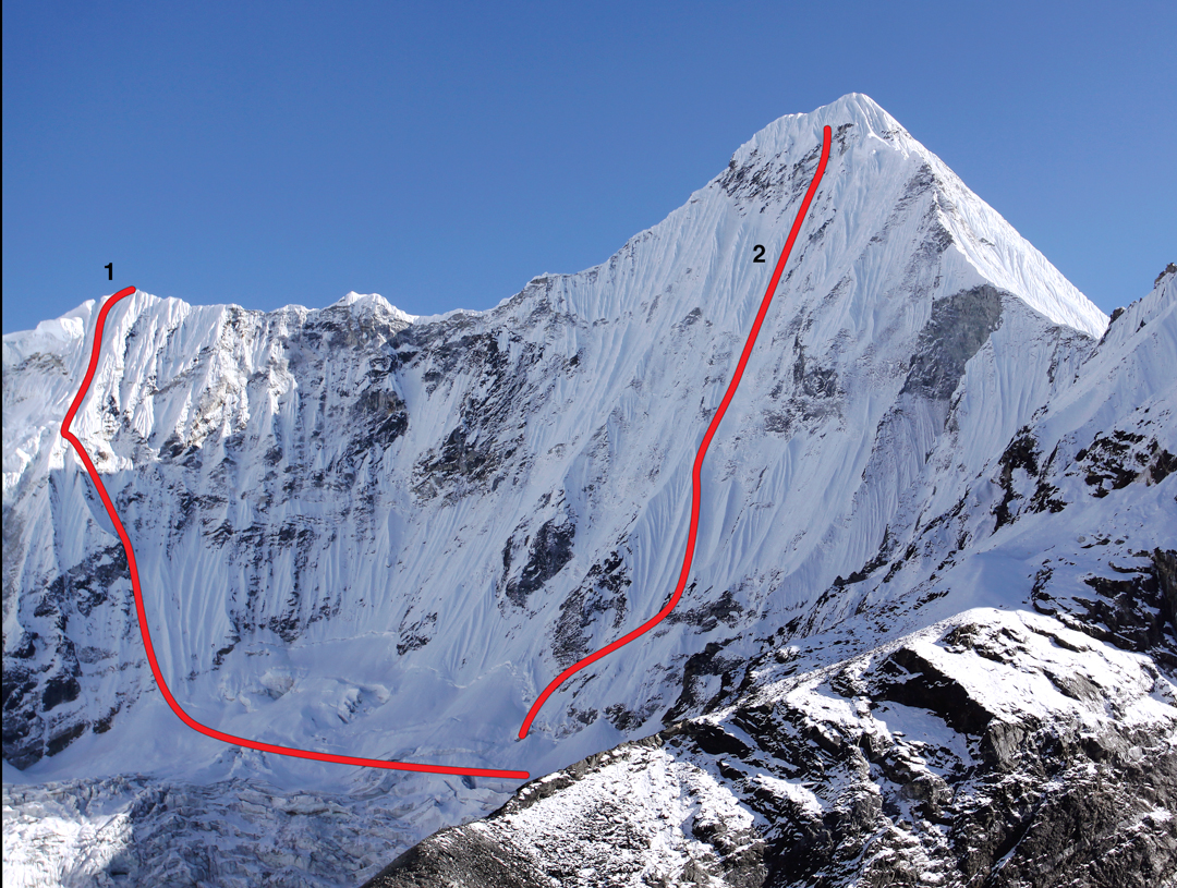 This image, used in AAJ 2010, shows (1) the north face of Peak ca 6,250m (800m, TD); (2) the approximate line of various attempts made on the north face of Melanphulan, though there is no known complete ascent to the summit. Probably the best effort, ca 50m below the summit ridge, was achieved in 2000 by Wojciech Kurtyka and Erhard Loretan (AAJ 2011), who graded their climb TD+.