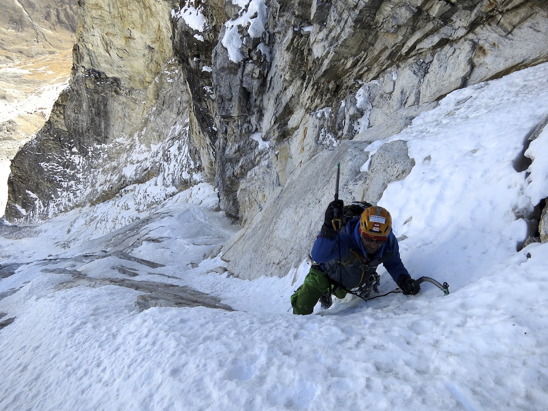 Nick Bullock in the east face couloir during the first ascent of Hunku.