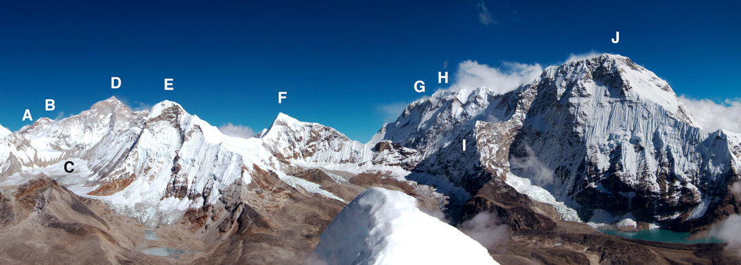 Partial panorama from summit of Hunku. (A) Peak ca 6,450 m at the end of Baruntse's south-southeast ridge. (B) Makalu II. (C) West Col (6,135m). (D) Makalu with west face/ridge pointing toward camera. (E) Hongu (6,764m; Pt. 6,770m Schneider Map). This peak has certainly been climbed by (1) the south ridge at D. (F) Hongku Chuli (6,833m, formerly known as Pyramid Peak and thought to have been climbed). (G) Chamlang East (7,290m). (H) Chamlang Central (7,235m). (I) Point 6,440m. (J) Chamlang Main (7,321m).