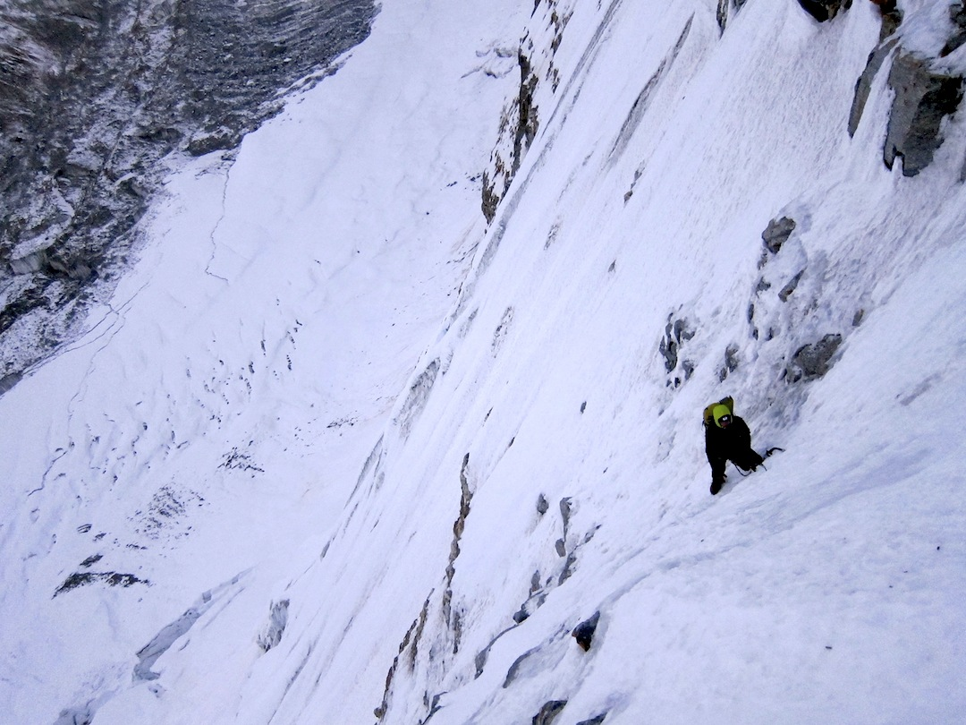 Marcic on the first day of the new route on Janak with Chijima Glacier below.