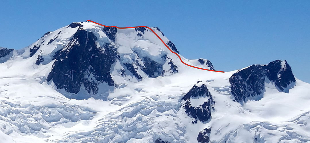 The southwest face of Cerro Meliquina, showing the route Los Azules Brillosos. It was the second time the author climbed the peak by a new route.
