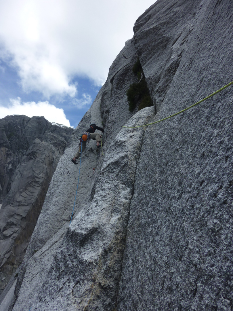 Heading up clean granite on pitch 11.