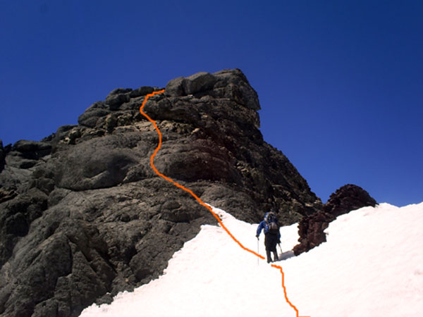 The upper part of the route.