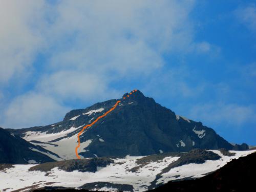 The route up Cerro Cinco Mil.
