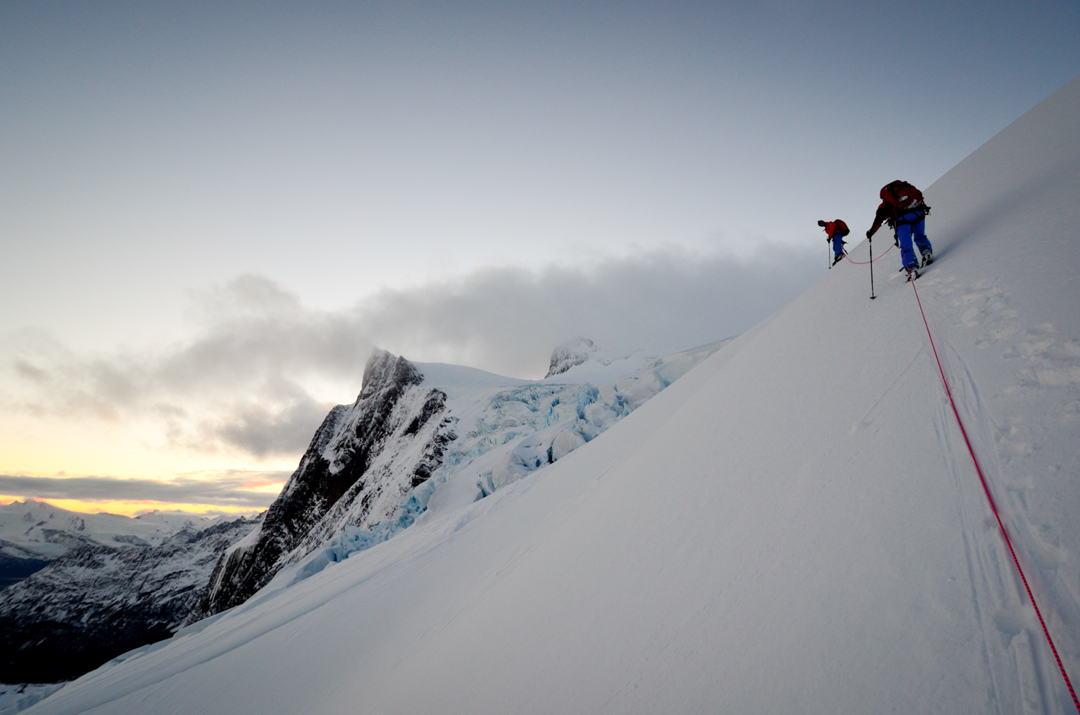 Traversing along the ridge.
