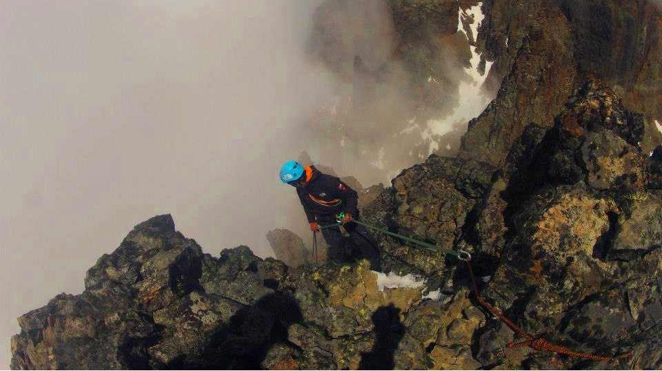 Rappelling from the summit of Torreon Chala.