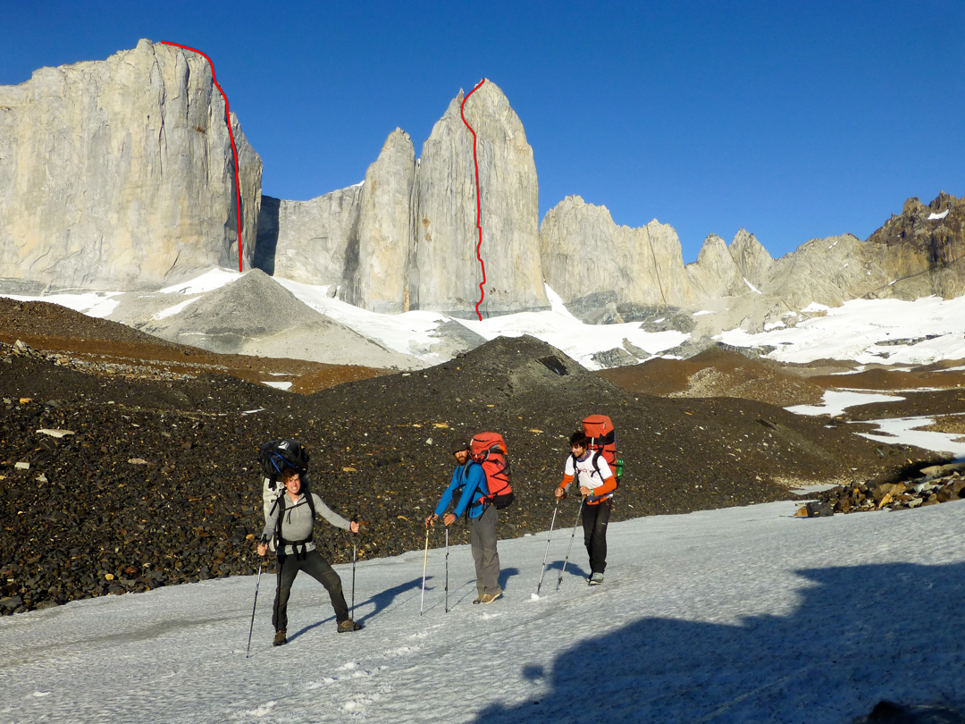 Cerro Cota 2000 (left) and Cerro Catedral (right). Both routes were climbed free (difficulties to 7c+) and ascend high-quality cracks and dream dihedrals.