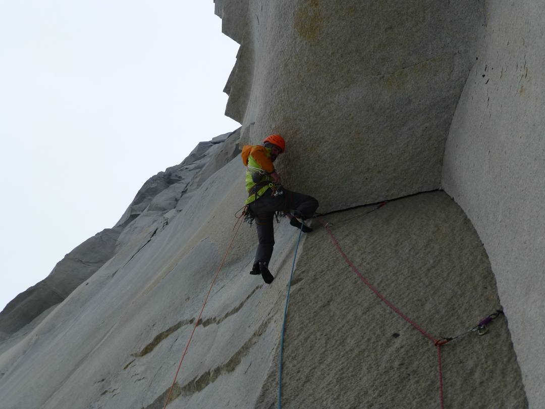 Starting the crux dihedral on Cerro Cota 2000.