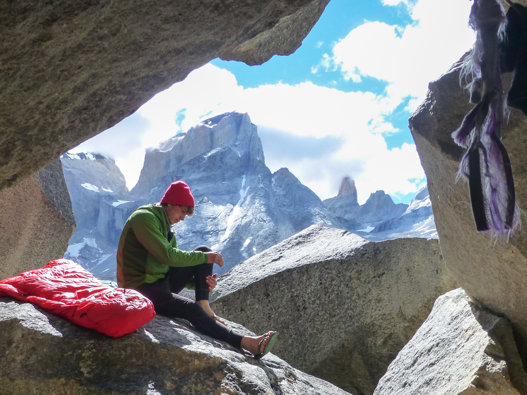 Relaxing in the bivy cave in the French Valley.