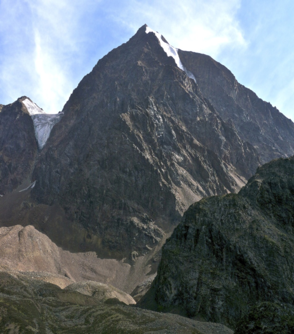 Crown Mountain from the north. Route of ascent followed right skyline (west ridge) to summit.