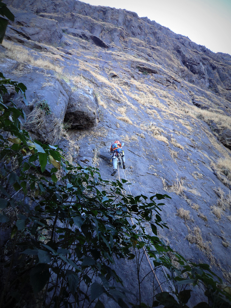 On the first ascent of the left route on Dhakoba north face.
