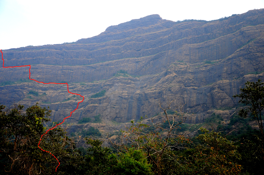 The ca 850m north face of Dhakoba with the new Indian route marked.