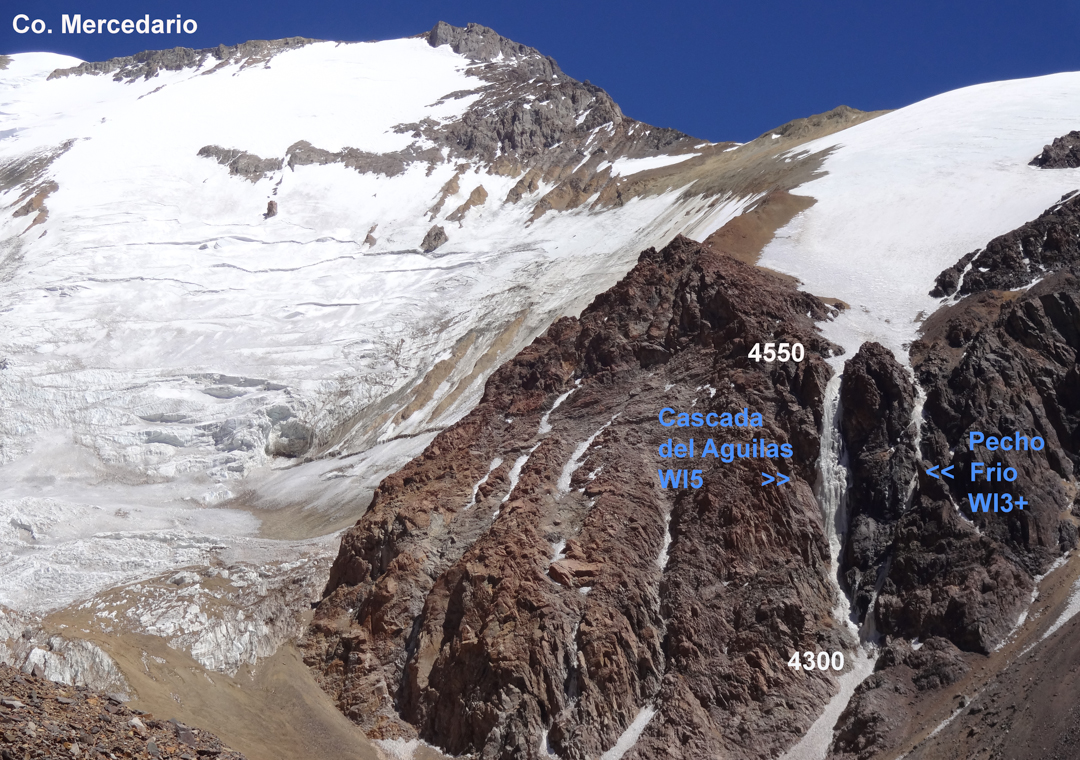 The first part (240m) of the Boris Adeev Route (bottom right) climbs a runnel of ice just right (in the shade) of the main, sun-baked icefall. Above, the route tackles a penitente traverse and a steep final pitch (WI5). All told, 1,000m of climbing.