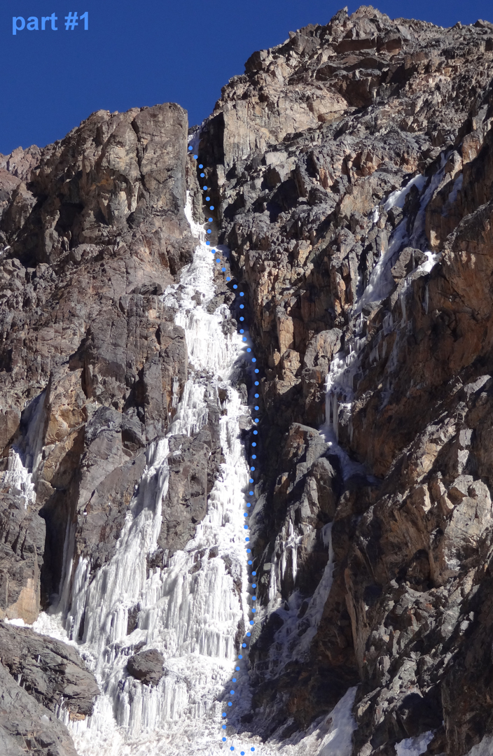 The first part (240m) of the Boris Adeev Route climbs a runnel of ice just right (in the shade) of the main, sun-baked icefall. Above, the route tackles a penitente traverse and a steep final pitch (WI5). All told, 1,000m of climbing.