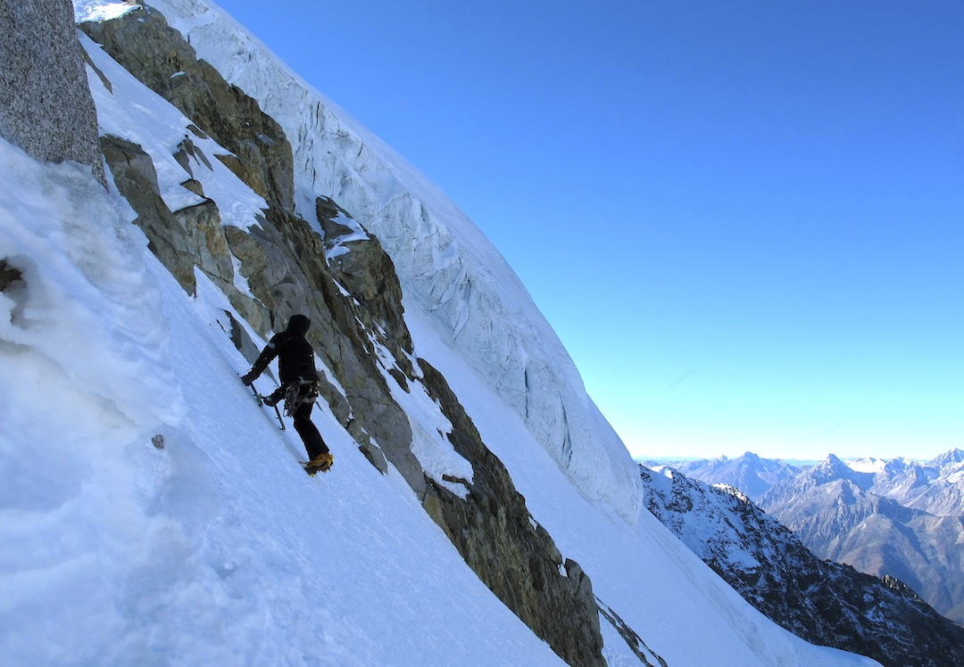 Simon Moore on the upper slopes of Wupingfeng at ca 5,400m.
