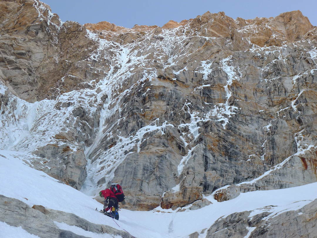 Sébastien Moatti approaching the steep ice runnels of the first day of the ascent of Kamet's southwest face.