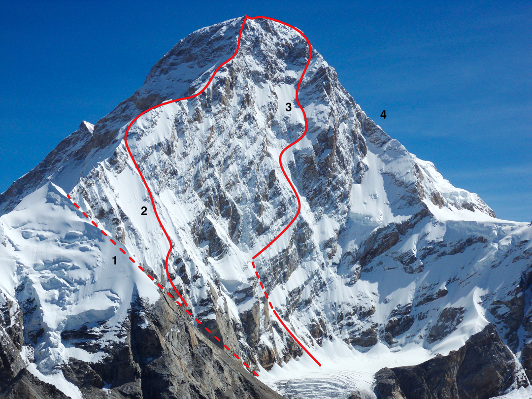 """Southwest face of Kamet. (1) The """"Indian Couloir"""", climbed to the west ridge by Indians in 2010 and French in 2012, is hidden but reaches the crest behind the triangular pointed snow pyramid. (2) 1985 Indo-French West Ridge. (3) Spicy Game (2012), with bivouacs. (4) South face/ridge descended by the French in 2012 (rappelling the seracs at the bottom to return to the glacier basin below the face)."""