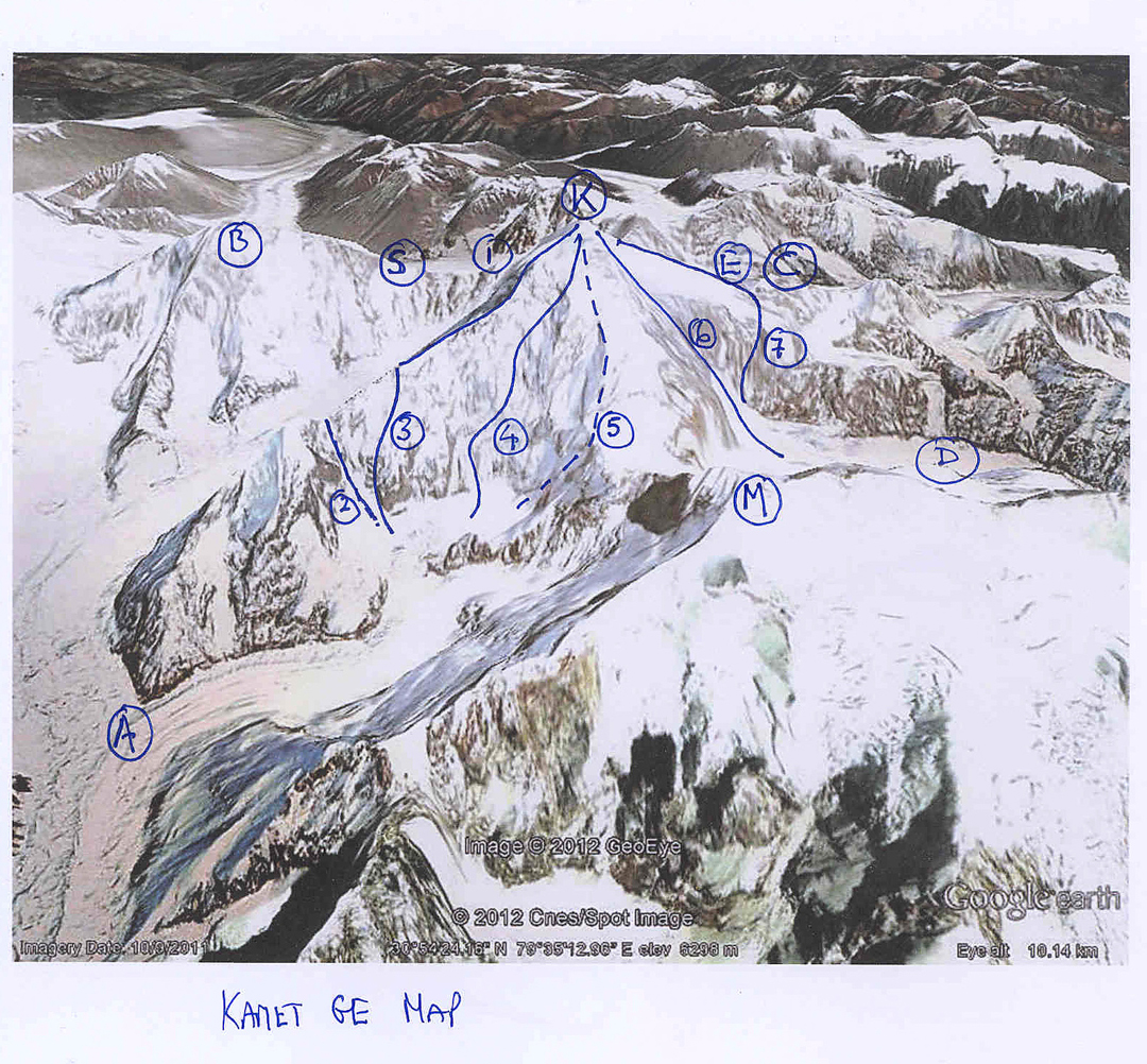 "(A) Paschimi Kamet Glacier. (B) Mukut Parvat. (C) Abi Gamin. (D) Purbi Kamet Glacier. (E) Meade's Col. (K) Kamet. (S) Slingsby's Col. (M) Mana Northwest. (1) Northwest ridge. (2) ""Indian Couloir"". (3) 1985 Indo-French West Ridge. (4) Southwest face - Spicy Game. (5) South face - south ridge descent. (6) Southeast face - Samuri Direct. (7) Normal Route."