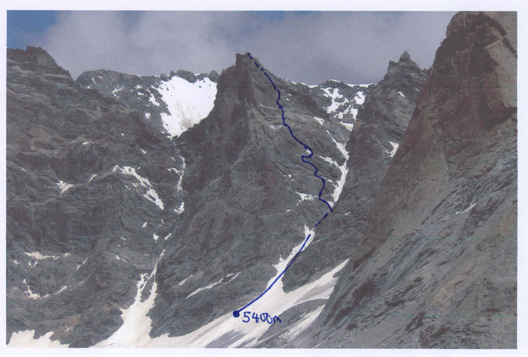 Forgotten Peak and line of Never ending Story. Left are the flanks of unclimbed Tara VII, while behind are the slopes of higher unnamed peaks to the northwest.