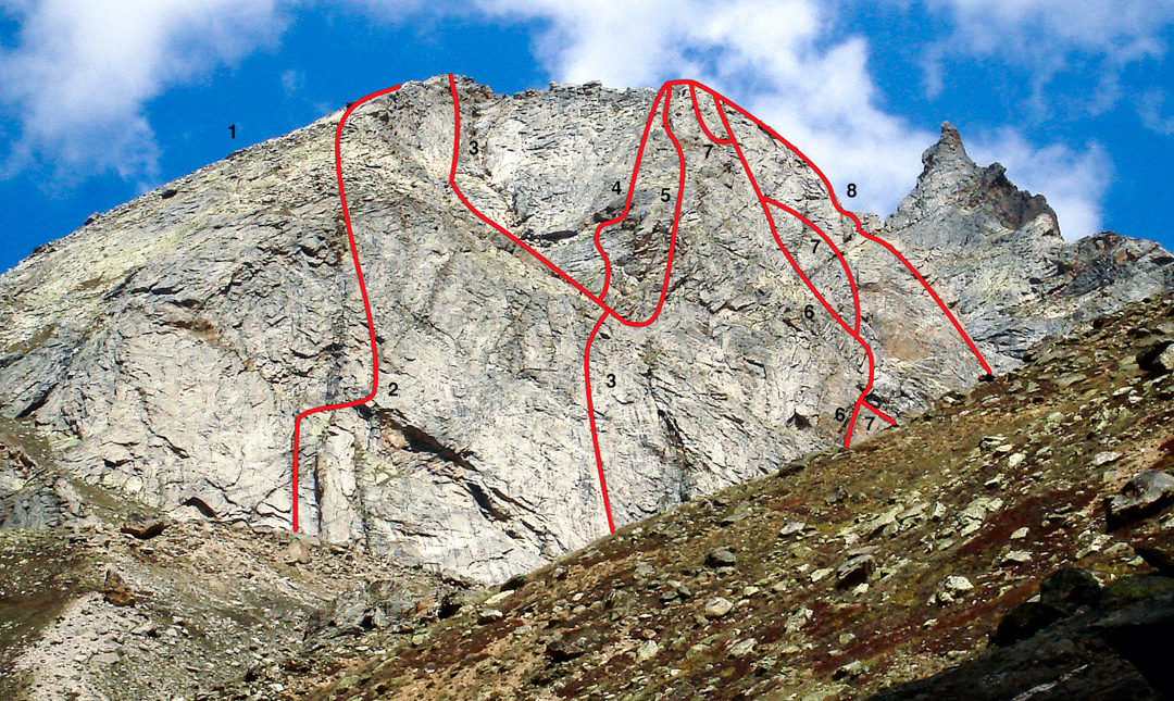 The current state of the south face of Toro Peak. (1) West Flank (2004, scramble). (2) Get up in the morning (Polish, 2009). (3) Lopez-Pfaff (2008). (4) Indian (2012). (5) American (2008). (6) Russian (2008). (7) Indian (2012). (8) East Ridge (300m, UIAA V+, Slovenian, 2007). Not marked is the 2011 Peschel-Schaar route, which climbs the prominent black streaks right of 3, then first left of, then right of, 5. JAMES peak to right.