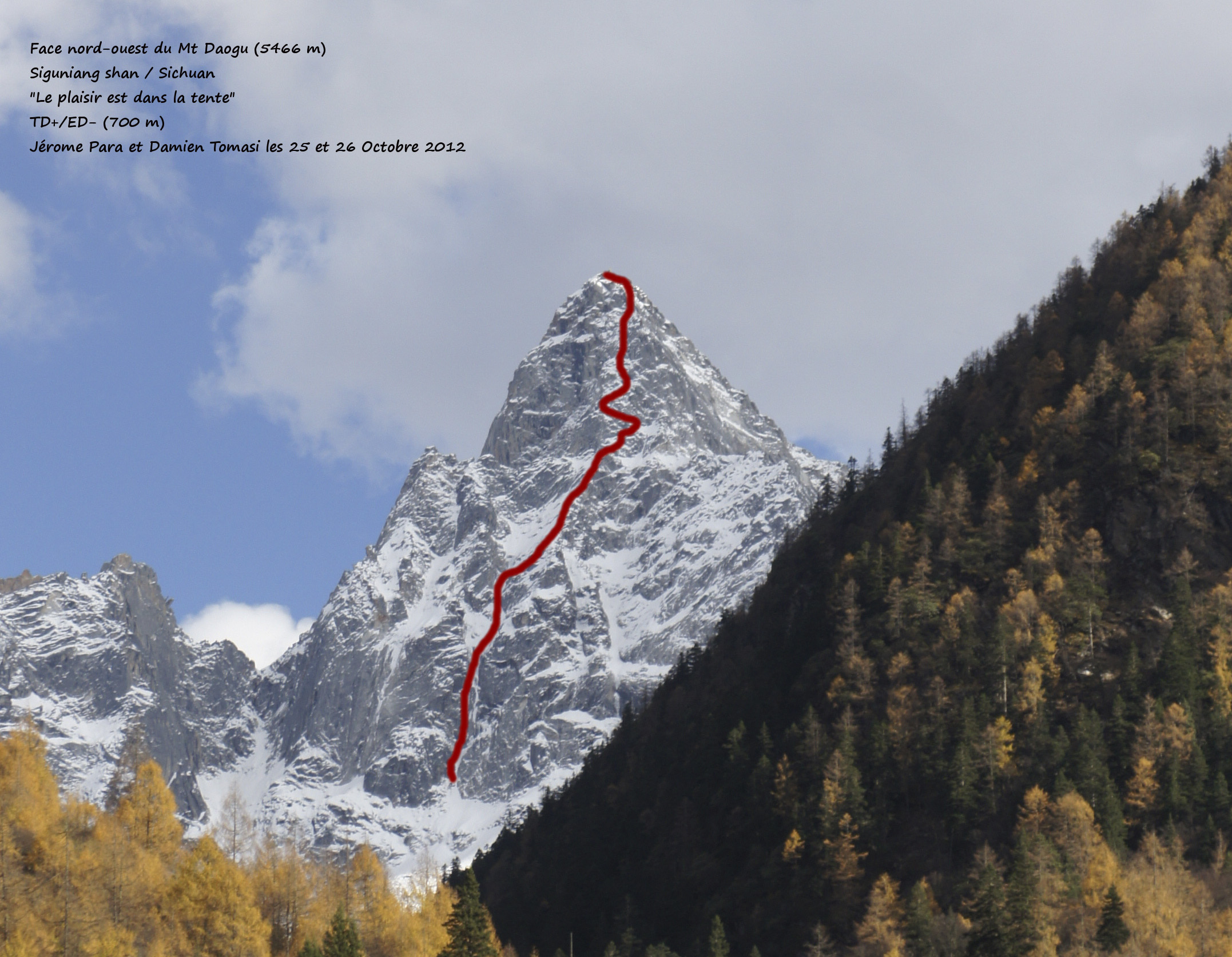 Northwest face of Daagou showing the 2012 French ascent.