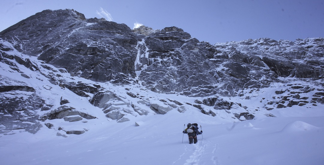 Damien Tomasi breaking trail in the initial gully. The crux ice pitch is immediately above.