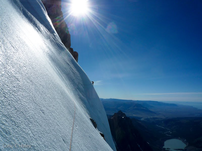 Traversing the south face ice field. The traverse is unique to the Corkscrew.