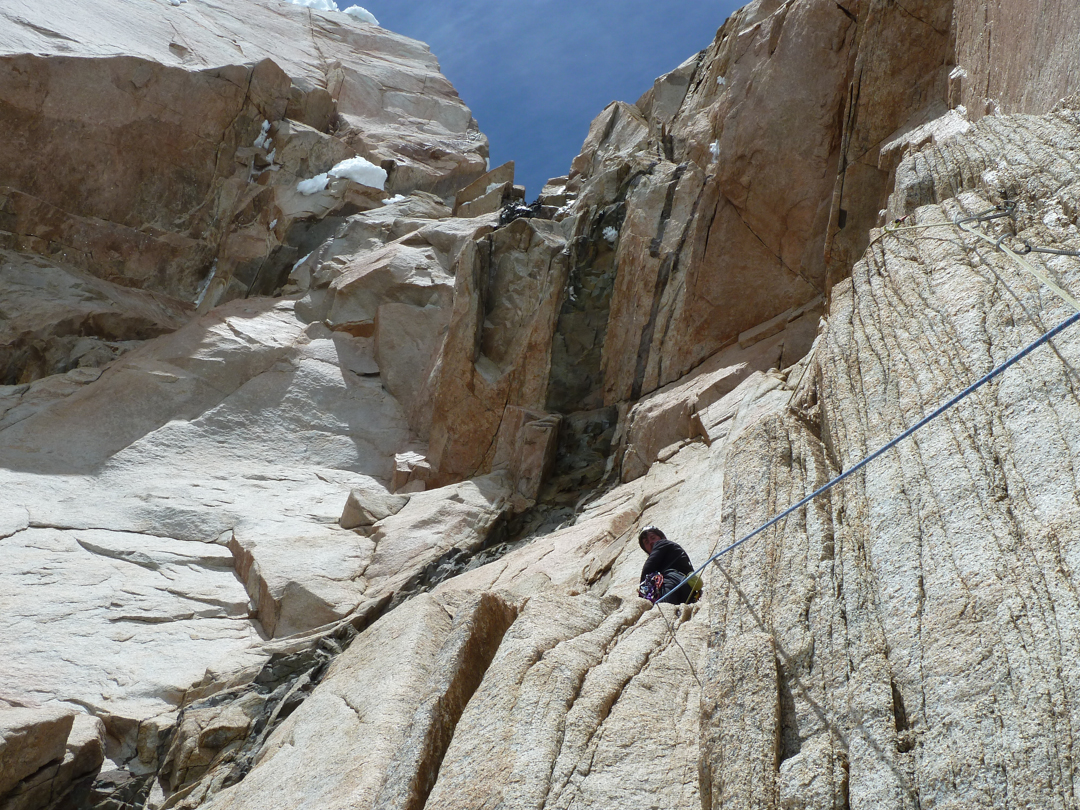 Approaching an intimidating roof high on the route.