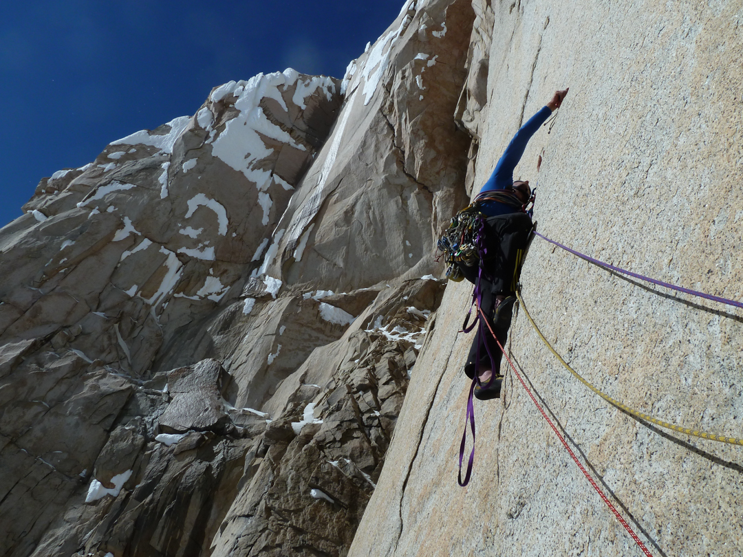 Steep aid climbing on Torre Egger's west face.