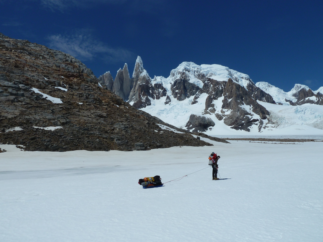 Approaching the previously unclimbed side of Torre Egger.