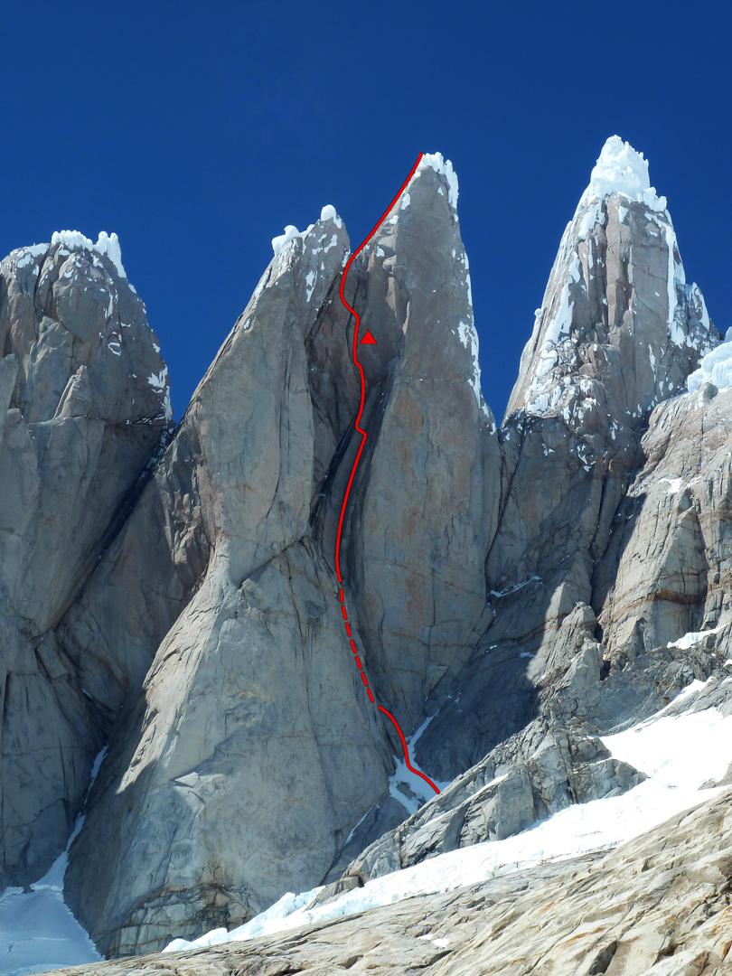 Torre Egger west face route line.