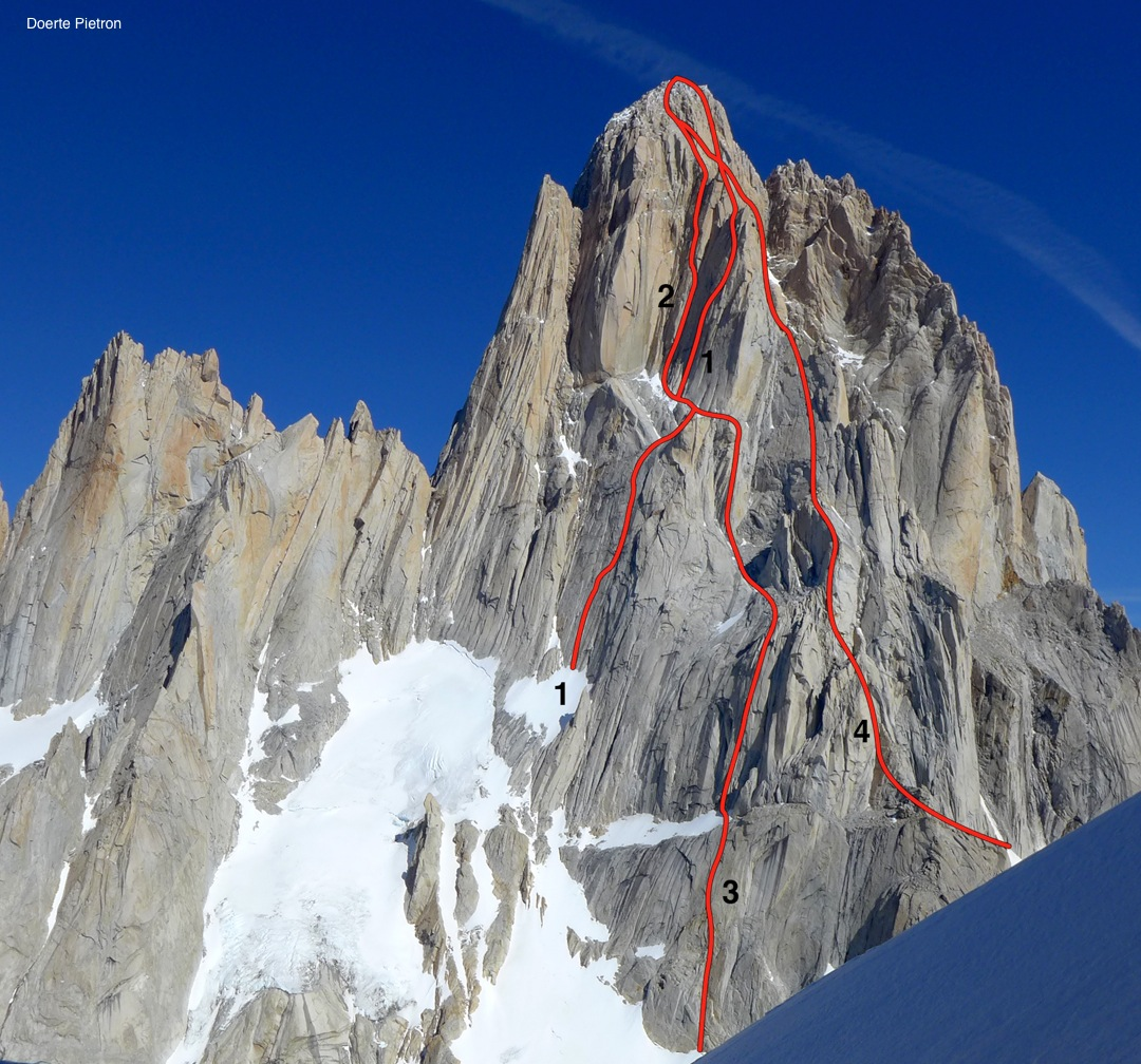 The north face of Fitz Roy, showing (1) Samba do Leao, (2) El Flaco Con Domingo, (3) Persiguiendo el Avión, and (4) Afanassieff. [All route lines are approximate.] A number of other established routes, not shown here, ascend the north face of Fitz Roy.