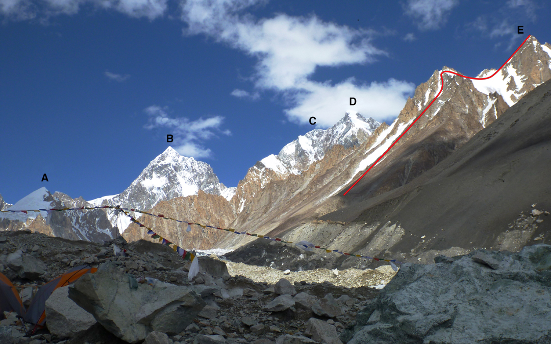 Rimo Group from the North Terong Glacier. (1) marks the top of the Pinnacles on the southwest ridge, with the snow slopes above leading toward the summit. (2) Route followed on first ascent of Dunglung Kangri.
