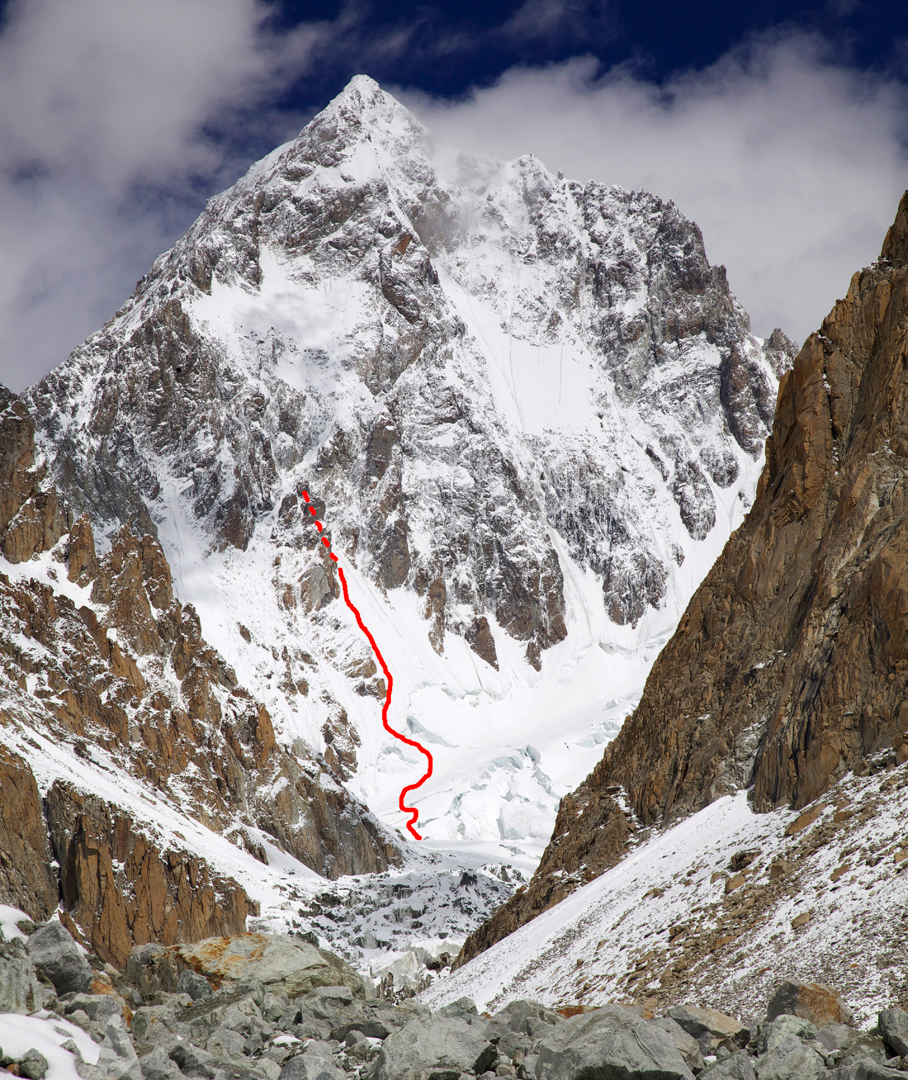 Southwest face of Rimo III. The line marks the attempt by Bass, Figg and Yearsley to the left of the prominent central buttress.