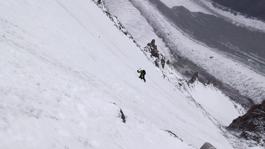 Simon Yearsley on the lower icefield during the first ascent of Dunglung Kangri.