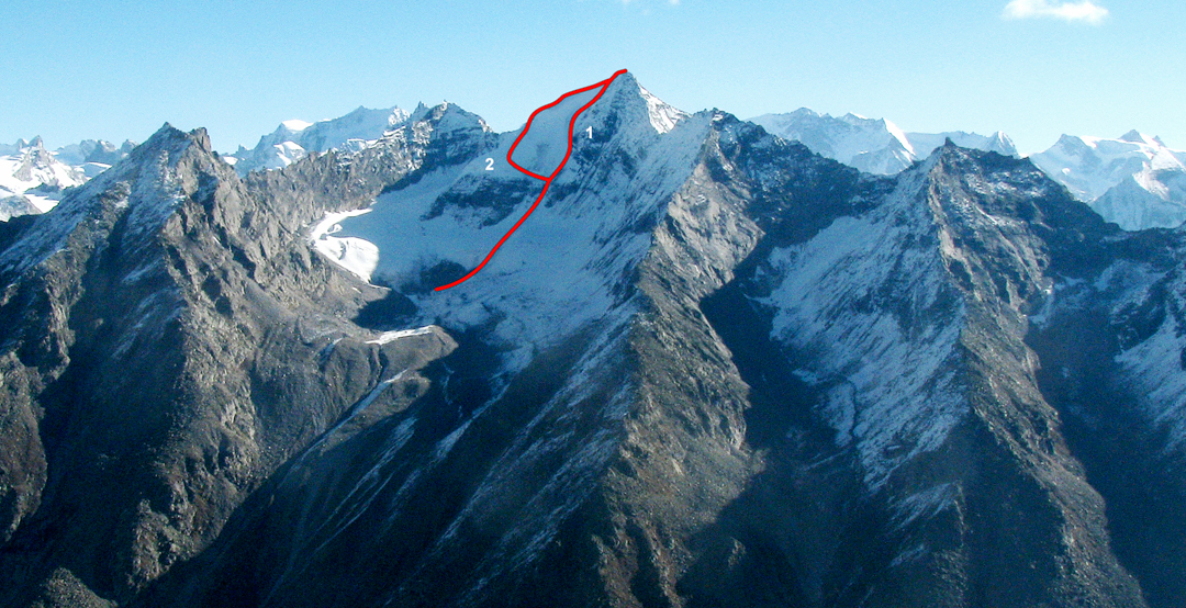Shakkar Peak from the east ridge of Shiva, showing (1) route of ascent, and (2) descent. (C) marks the high camp.