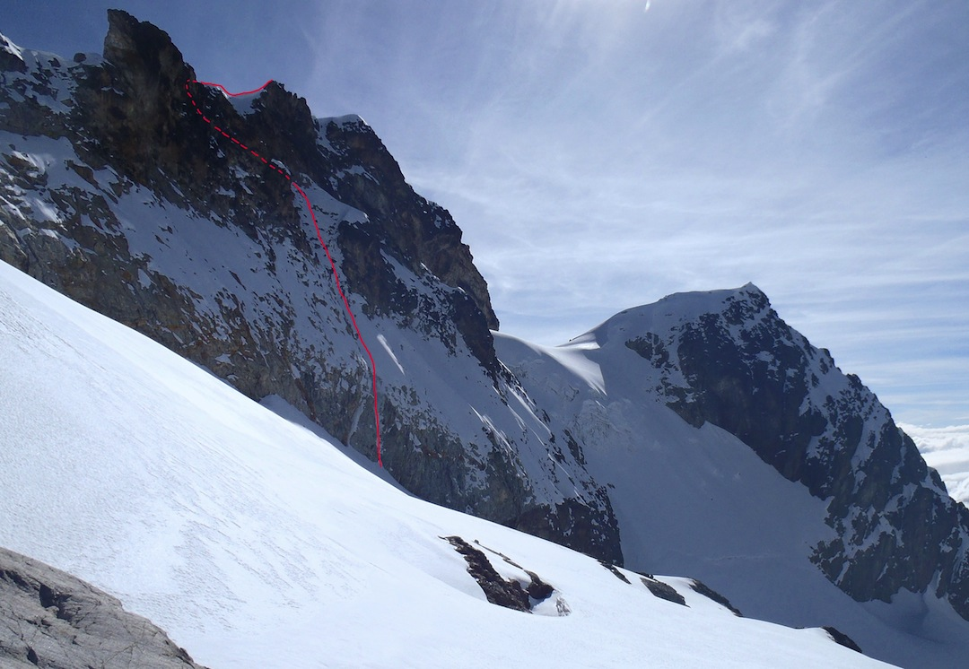 South face of Charquini with the 2012 New Zealand route.