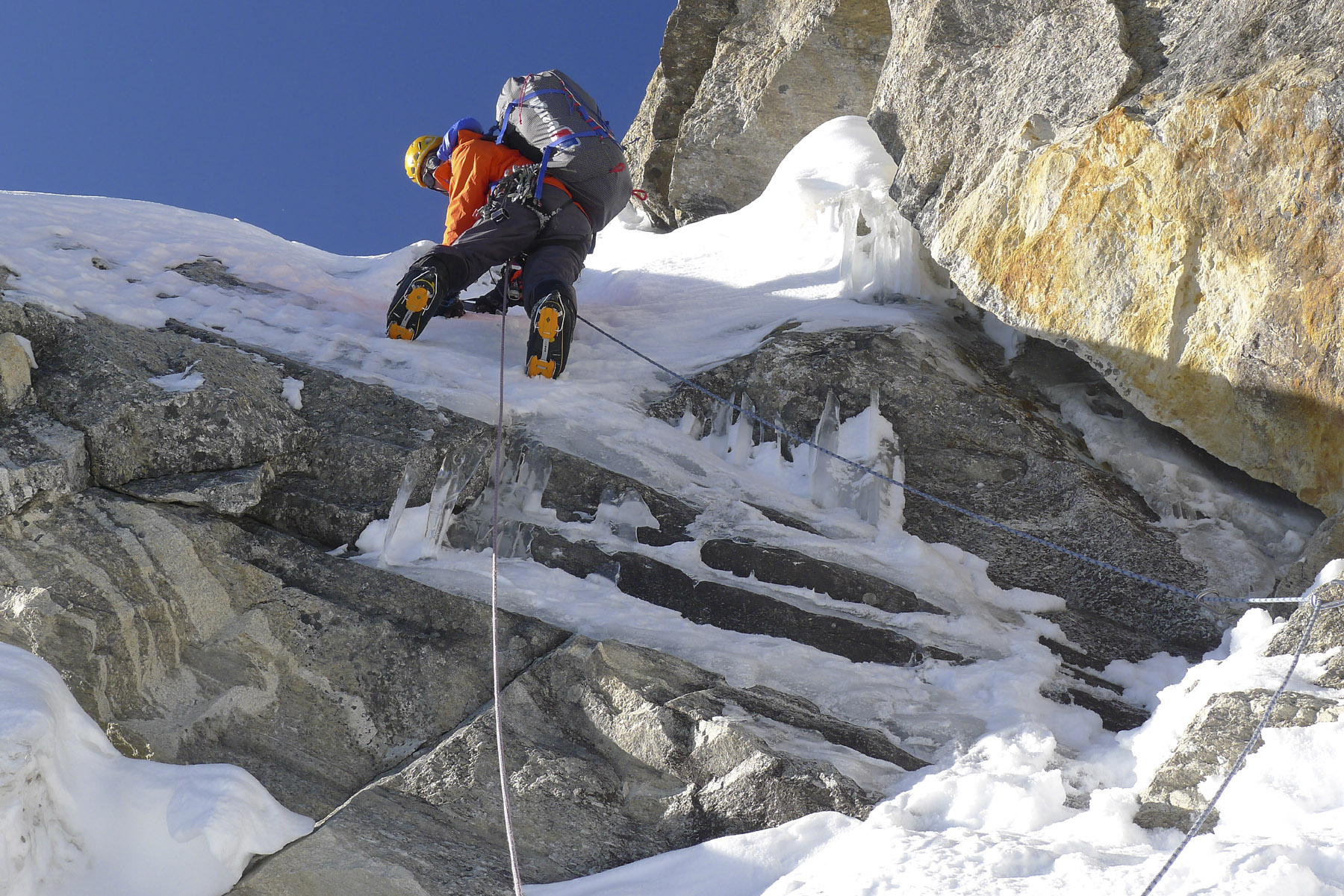 About halfway up the Prow, Mick Fowler heads up the first pitch on day six above base camp. Paul Ramsden
