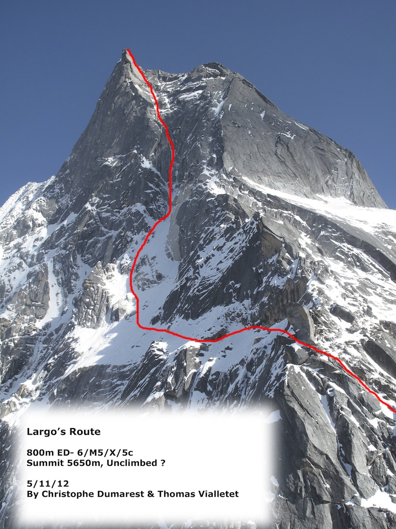 Largo's Route on the north-northeast face of Pt. ca 5,600m.