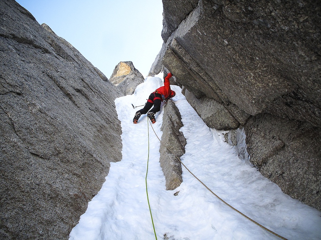 Christophe Dumarest in the gully of Largo's Route on the north-northeast face of Pt. ca 5,600m.